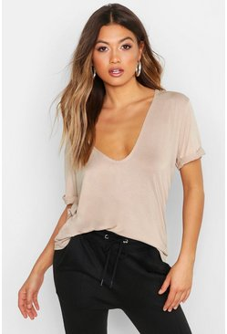 Stone beige Plunge Front Oversized T-Shirt