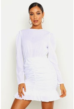White Crinkle Ruched Detail Lace Sleeve Mini Dress