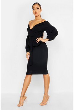 Black Off The Shoulder Wrap Peplum Midi Dress