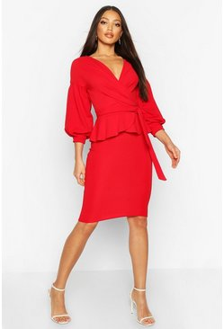 Red Off The Shoulder Wrap Peplum Midi Dress