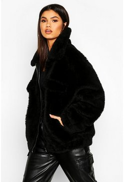 Zwart black Oversized Faux Fur Teddy Tussenjas