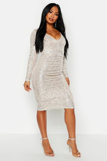 Metallic silver metallic All Over Sequin Ruched Midi Dress