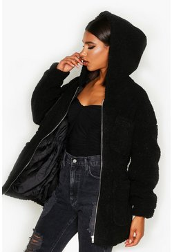 Black Teddy Faux Fur Utility Jacket