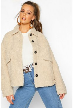 Stone beige Teddy Faux Fur Trucker