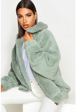 Sage green Oversized Teddy Faux Fur Bomber Jacket
