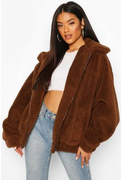 Chocolate brown Oversized Teddy Faux Fur Bomber Jacket