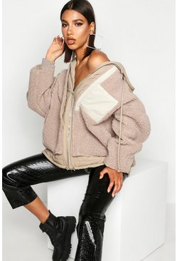 Stone beige Teddy Faux Fur Double Layer Jacket
