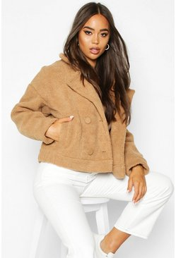 Camel Faux Suede Lined Teddy Faux Fur Biker Jacket