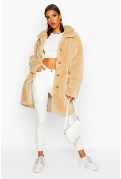 Stone beige Button Through Teddy Faux Fur Coat
