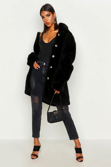 Black Button Through Teddy Faux Fur Coat