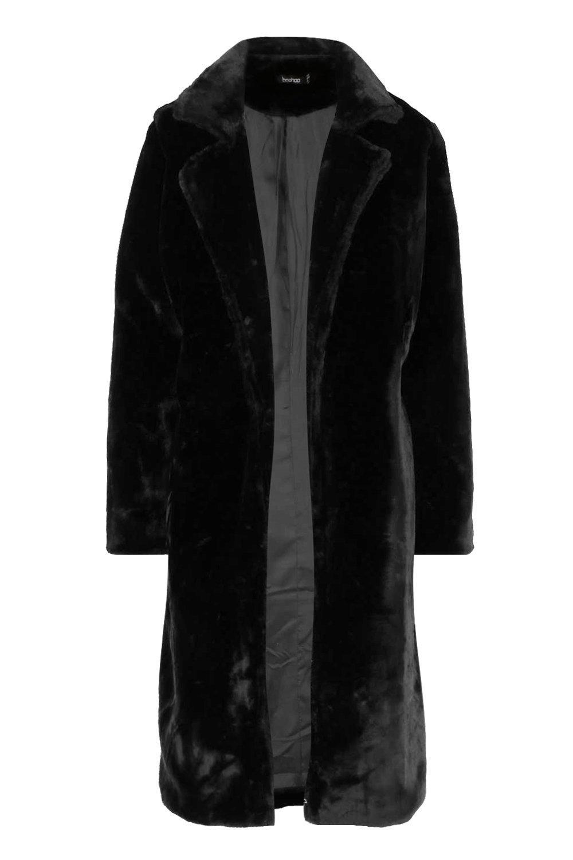 Vintage Coats & Jackets | Retro Coats and Jackets Womens Textured Faux Fur Belted Coat - Black - 10 $40.00 AT vintagedancer.com