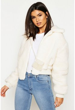 Cream white Crop Faux Teddy Fur Bomber Jacket