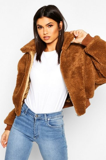 Camel beige Crop Faux Teddy Fur Bomber Jacket
