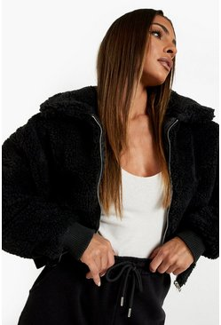 Black Crop Faux Teddy Fur Bomber Jacket