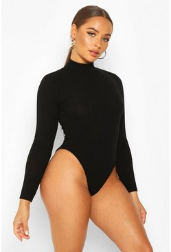Black Turtle Neck Long Sleeve Knitted Rib Bodysuit