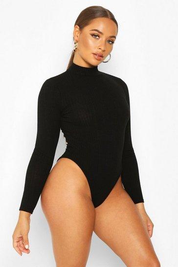 Black Turtle Neck Long Sleeve Knitted Rib Bodysuit