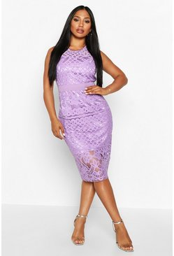 Lilac purple All Over Crochet Lace Midi Dress
