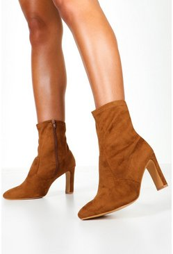 Tan brown Extra Wide Fit Flat Heel Sock Boots
