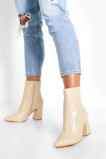 Ecru white Wide Fit Croc Block Heel Sock Boots