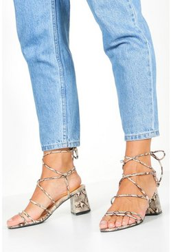 Beige Wide Fit Snake Wrap Block Heels