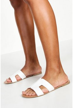 White Wide Fit Sliders