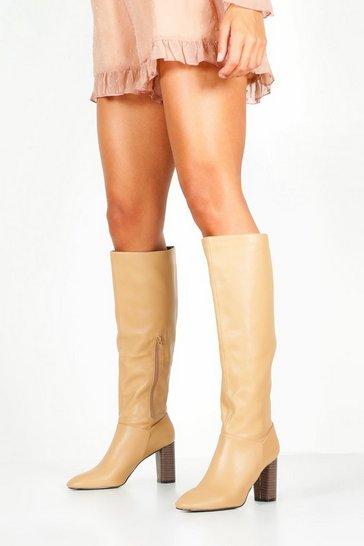 Beige Block Heel Knee High Boots