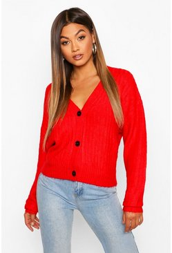 Red Button Through Rib Knit Cardigan