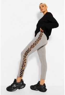 Grey marl grey Leopard Print Side Stripe Leggings
