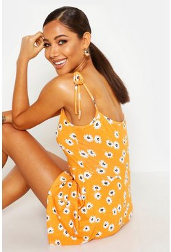 Orange Tie Shoulder Daisy Print Jersey Playsuit