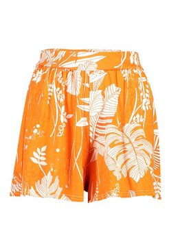 Orange Palm Print Jersey Flippy Shorts