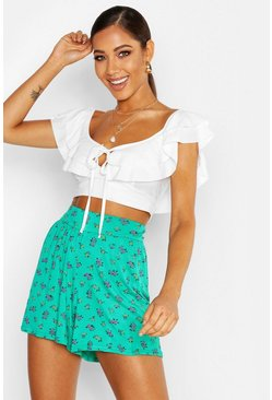 Emerald green Ditsy Floral Jersey Flippy Shorts