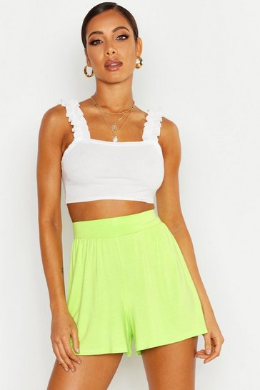 Lime Basic Jersey Flippy Shorts