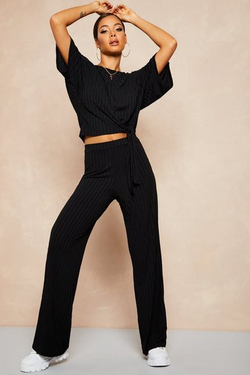Black Recycled Batwing Top and Trouser Co-ord