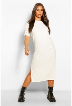 Ecru white Recycled Rib Tunic Midi Dress