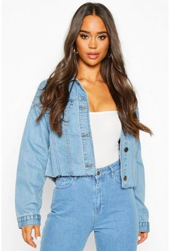 Mid blue blue Cropped Denim Jacket