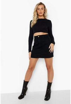 Black Disco Fit Denim Skirt