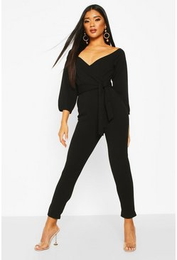 Black Off The Shoulder Tapered Leg Jumpsuit
