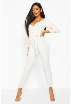 Ivory white Off The Shoulder Tapered Leg Jumpsuit