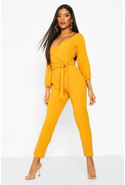 Mustard yellow Off The Shoulder Tapered Leg Jumpsuit