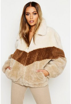 Natural beige Tonal Stripe Teddy Faux Fur Bomber