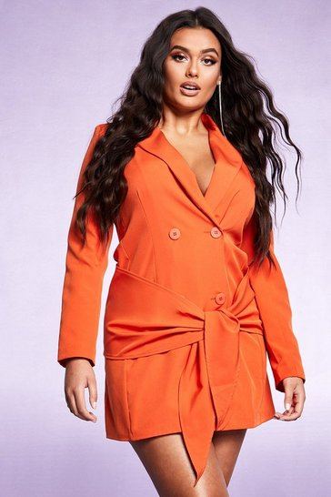 Orange Tie Front Double Breasted Blazer Dress