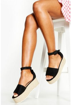 Black Two Part Peeptoe Flatforms