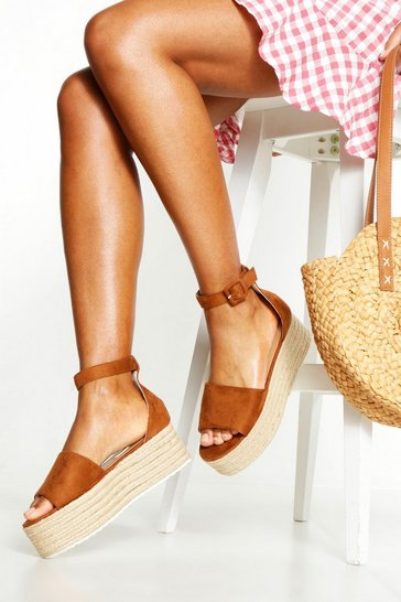 Tan brown Two Part Peeptoe Flatforms