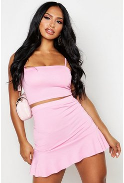 Hot pink pink Strappy Crop Top And Skater Mini Skirt Two-Piece