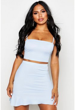 Sky Strappy Crop Top and Skater Mini Skirt Co-Ord