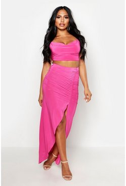 Hot pink pink Slinky Cowl Neck Cami & Side Split Maxi Skirt Co-Ord