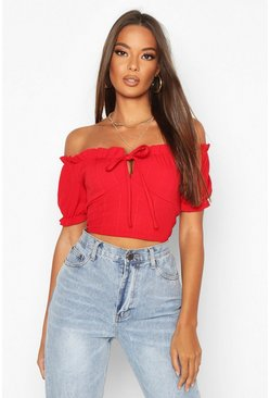 Red Bandage Peasant Crop Top