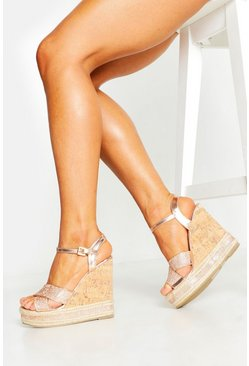 Rose gold metallic Glitter Cross Strap Cork Wedges