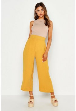 Mustard yellow Geweven Wide Leg Culottes