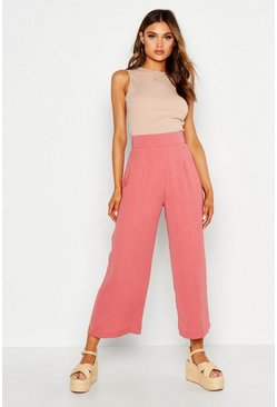 Rose pink Geweven Wide Leg Culottes